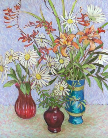 Daisies and Lillies in Three Pots